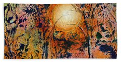 Hand Towel featuring the painting Copper Moon by Dan Whittemore