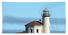 Coquille River Lighthouse Bath Towel by Nick Kloepping