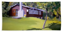 Bath Towel featuring the painting Cottage In Ludow Vermont by Nancy Griswold