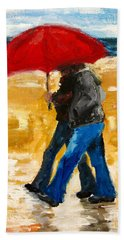 Couple Under A Red Umbrella Hand Towel