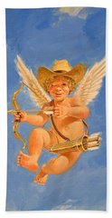 Hand Towel featuring the painting Cow Kid Cupid by Cliff Spohn