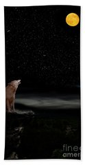 Hand Towel featuring the photograph Coyote Howling At Moon by Dan Friend