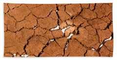 Hand Towel featuring the photograph Cracked Red Soil  by Les Palenik