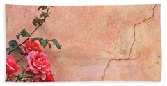 Cracked Wall And Rose Hand Towel