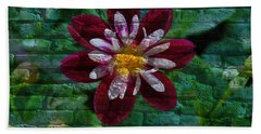 Crazy Flower Over Brick Hand Towel by Eric Liller