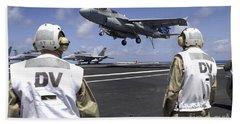 Crewmen Observe Flight Operations Hand Towel