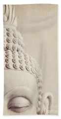 Cropped Stone Buddha Head Statue Bath Towel