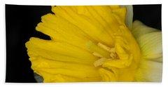 Daffodil On Black Bath Towel
