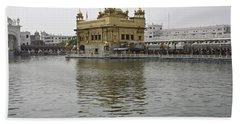 Darbar Sahib And Sarovar Inside The Golden Temple Hand Towel by Ashish Agarwal