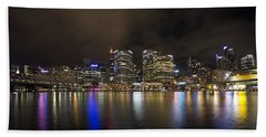 Darling Harbor Sydney Skyline Hand Towel by Douglas Barnard