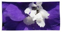 Delphinium Named Blue With White Bee Bath Towel by J McCombie