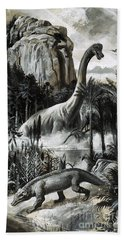 Dinosaurs Hand Towel by Roger Payne