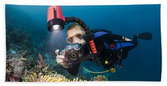 Diver And Anenome Fish Hand Towel