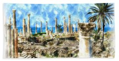Do-00550 Ruins And Columns Bath Towel by Digital Oil