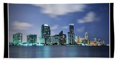 Hand Towel featuring the photograph Downtown Miami At Night by Carsten Reisinger