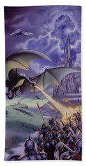 Dragon Combat Hand Towel by The Dragon Chronicles - Steve Re