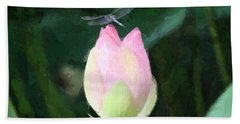 Dragonfly On Water Lily Bath Towel by Donna  Smith
