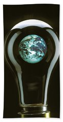 Earth In Light Bulb  Hand Towel