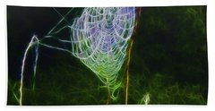 Bath Towel featuring the photograph Electric Web In The Fog by EricaMaxine  Price