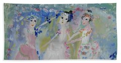 English Country Garden Ballet Hand Towel by Judith Desrosiers
