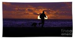 Evening Run On The Beach Bath Towel by Clayton Bruster