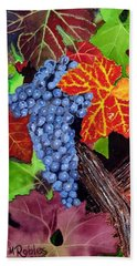 Fall Cabernet Sauvignon Grapes Bath Towel by Mike Robles