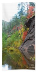 Fall Peeks From Behind The Rocks Hand Towel by Heather Kirk