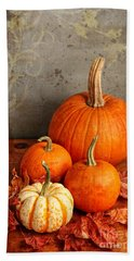 Fall Pumpkin And Decorative Squash Hand Towel by Verena Matthew