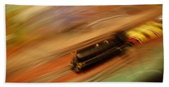 Fast Train Set Bath Towel by Randy J Heath