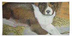 Bath Towel featuring the painting Fat Puppy by Norm Starks