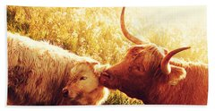 Bath Towel featuring the photograph Fenella With Her Daughter. Highland Cows. Scotland by Jenny Rainbow
