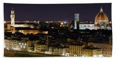 Firenze Skyline At Night - Duomo And Surroundings Bath Towel