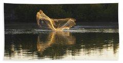 Hand Towel featuring the digital art Fisherman Throwing His Net by Anne Mott