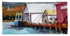 Hand Towel featuring the painting Fishing Boat And Dock Watercolor by Chriss Pagani