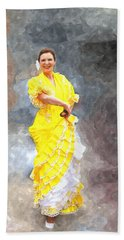 Hand Towel featuring the photograph Flamenco Dancer In Yellow by Davandra Cribbie