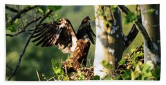 Bath Towel featuring the photograph Fledgling Testing The Wind by Randall Branham