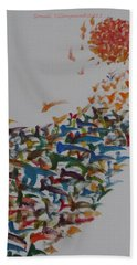 Bath Towel featuring the painting Fleet Of Birds by Sonali Gangane
