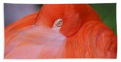 Bath Towel featuring the photograph Flirty Flamingo by Myrna Bradshaw