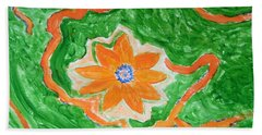 Hand Towel featuring the painting Floating Flower by Sonali Gangane