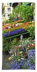 Flower Stand In Paris Bath Towel