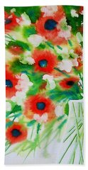 Flowers In A Glass Bath Towel