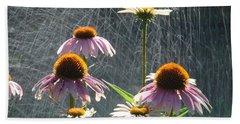 Flowers In The Rain Bath Towel by Randy J Heath