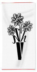 Flowers In Type Hand Towel by Connie Fox