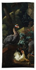 Park Landscape With Guinea Fowl, Chicken And Chicks Bath Towel