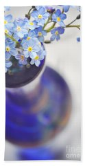 Forget Me Nots In Deep Blue Vase Bath Towel
