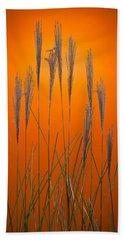 Fountain Grass In Orange Bath Towel