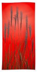 Fountain Grass In Red Bath Towel