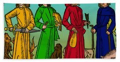 Four Temperaments, Medieval Woodcut Hand Towel