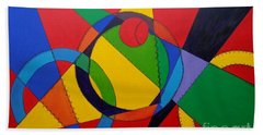 Bath Towel featuring the painting Frankenball by Julie Brugh Riffey