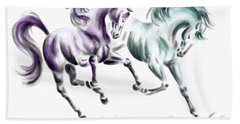 Frolicking - Wild Horses Print Color Tinted Hand Towel